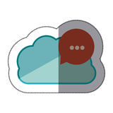 Sticker blue cloud with red dialog with white suspending points. Illustration Stock Photos