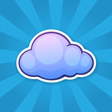 Sticker blue cloud. Vector illustration. Blue cloud. Weather symbol. Sticker in cartoon style with contour. Decoration for greeting cards, patches, prints for Stock Image