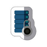 Sticker with blue filing cabinet and padlock. Vector illustration Royalty Free Stock Image