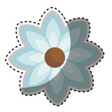 Sticker blue silhouette figure flower icon floral. Vector illustration Royalty Free Stock Images