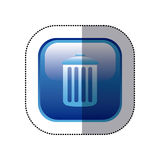 Sticker blue square frame with trash container icon. Illustration Royalty Free Stock Images