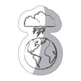 Sticker blurred silhouette earth world cloud with cloud with lightnings Stock Photo