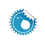 Sticker of bomb blue  Royalty Free Stock Photography