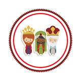 Sticker border with the three wise men cartoon Stock Photography