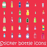 Sticker bottle icons Stock Photography