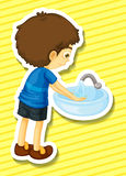 Sticker. Of a boy washing his hands in a sink stock illustration