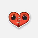 Sticker broken heart with eyes Royalty Free Stock Image