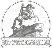 Sticker with Bronze Horseman monument in St. Petersburg Royalty Free Stock Photos