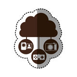 Sticker brown cloud in cumulus shape connected to tech device. Illustration Stock Image