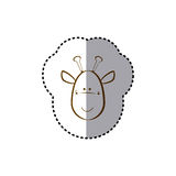 sticker with brown line contour of face of giraffe Stock Images