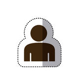 Sticker brown silhouette half body figure person icon. Illustration Royalty Free Stock Photography