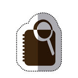 sticker brown silhouette magnifying glass with notebook with rings Stock Photography