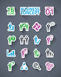 Sticker business icon set with long shadows. 16 business sticker icons with four colors Vector Illustration