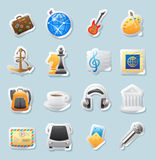 Sticker icons for entertainment Royalty Free Stock Image