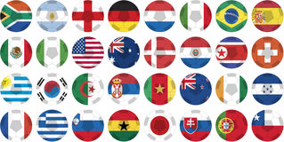 Sticker buttons of national flags in world cup 201. Sticker buttons of national flags of countries participating in world cup 2010 in circular shape with a ball Stock Photos