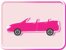Sticker with cabriolet image Stock Images