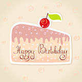 Sticker cake. Illustration of happy birthday stickers in form of a piece of cake Royalty Free Stock Photography