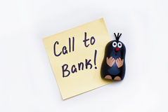 Sticker - Call to Bank and funny mole Stock Photos