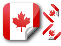 Sticker with Canada flag. Vector Illustration. EPS10 Royalty Free Stock Images