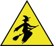Sticker for car `Be careful, driving a witch!` stock image