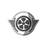 Sticker car wheel award in monochrome Royalty Free Stock Photos