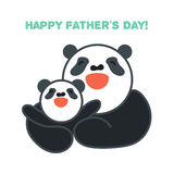 Sticker, card with happy father and child panda Stock Photos