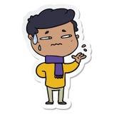 Sticker of a cartoon anxious man. Illustrated sticker of a cartoon anxious man royalty free illustration