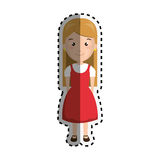 Sticker cartoon blond girl with cute dress Royalty Free Stock Image