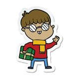 Sticker of a cartoon boy wearing spectacles. Illustrated sticker of a cartoon boy wearing spectacles vector illustration