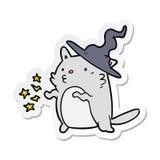 Sticker of a cartoon cat wizard. A creative sticker of a cartoon cat wizard royalty free illustration