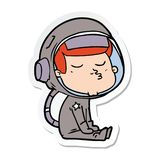 Sticker of a cartoon confident astronaut. A creative sticker of a cartoon confident astronaut stock illustration