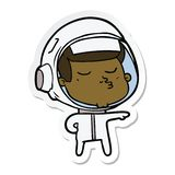 Sticker of a cartoon confident astronaut. A creative illustrated sticker of a cartoon confident astronaut stock illustration