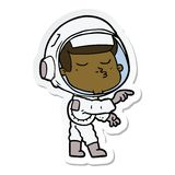 Sticker of a cartoon confident astronaut. A creative illustrated sticker of a cartoon confident astronaut royalty free illustration