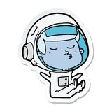 Sticker of a cartoon confident astronaut. A creative illustrated sticker of a cartoon confident astronaut vector illustration