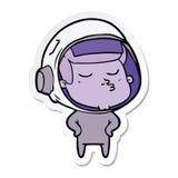 Sticker of a cartoon confident astronaut. Illustrated sticker of a cartoon confident astronaut vector illustration