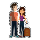 Sticker cartoon couple with woman brunette and man with travel luggage Stock Images