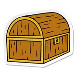 Sticker cartoon doodle of a treasure chest. A creative illustrated sticker cartoon doodle of a treasure chest stock illustration