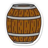 Sticker cartoon doodle of a wooden barrel. A creative illustrated sticker cartoon doodle of a wooden barrel royalty free illustration