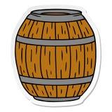 Sticker cartoon doodle of a wooden barrel. A creative illustrated sticker cartoon doodle of a wooden barrel stock illustration