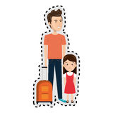 Sticker cartoon father with travel briefcase and daugther girl Royalty Free Stock Photo