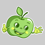 Sticker with cartoon green apple character, which thumbs up Stock Images