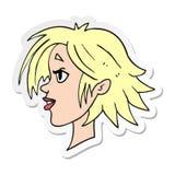 Sticker of a cartoon happy female face. Illustrated sticker of a cartoon happy female face vector illustration