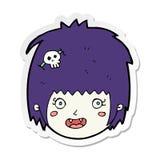 Sticker of a cartoon happy vampire girl face. Illustrated sticker of a cartoon happy vampire girl face vector illustration