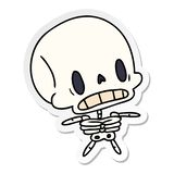 Sticker cartoon illustration kawaii cute dead skeleton. A creative sticker cartoon kawaii cute dead skeleton vector illustration
