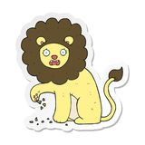 Sticker of a cartoon lion with thorn in foot. A creative illustrated sticker of a cartoon lion with thorn in foot stock illustration