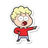 Sticker of a cartoon man gasping in surprise. Illustrated sticker of a cartoon man gasping in surprise vector illustration