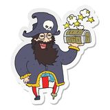 Sticker of a cartoon pirate captain with treasure chest. A creative illustrated sticker of a cartoon pirate captain with treasure chest royalty free illustration