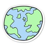 Sticker of a cartoon planet earth. A creative sticker of a cartoon planet earth vector illustration