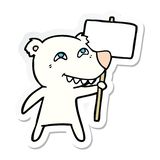 Sticker of a cartoon polar bear showing teeth. Illustrated sticker of a cartoon polar bear showing teeth vector illustration