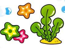 Sticker. Cartoon sea creatures on white background Stock Photo